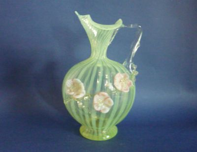 Rare Burtles, Tate and Co (Manchester) Striped Vaseline Glass Ewer c1895